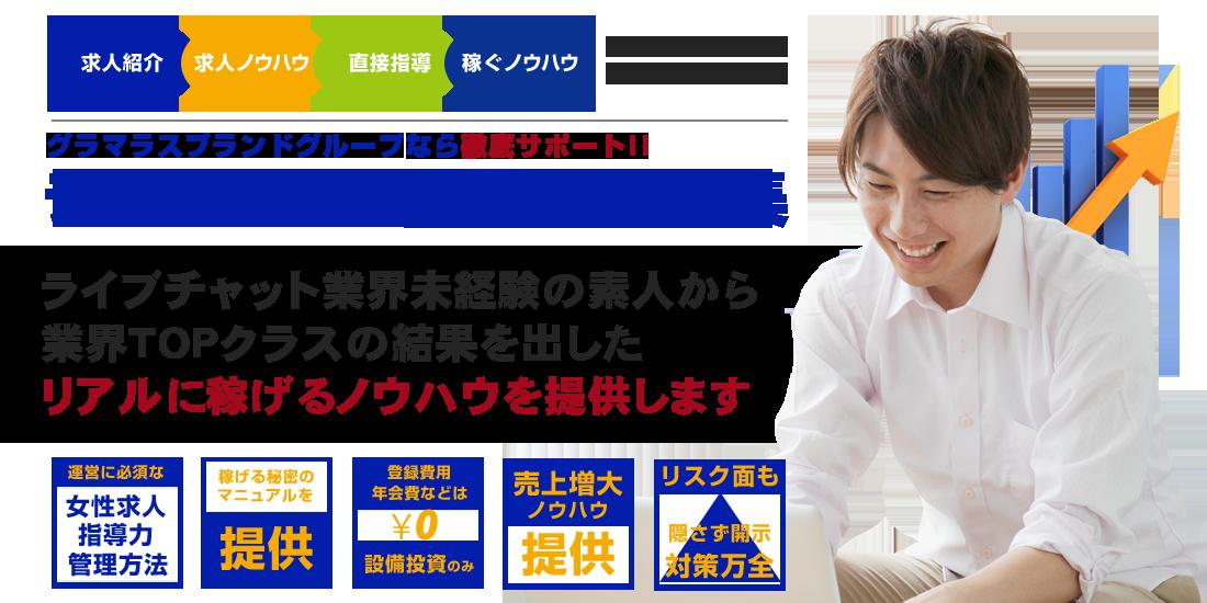 ライブチャット代理店募集 グラマラスブランドグループなら徹底サポート!!