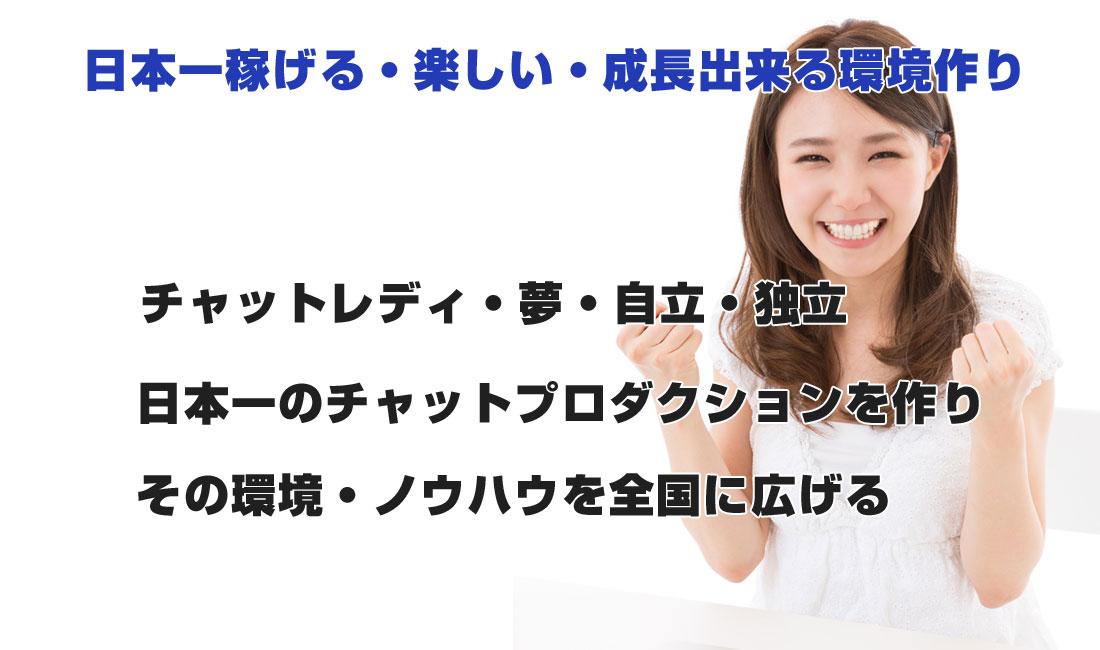 日本一稼げる・楽しい・成長出来る環境作り・チャットレディ・夢・自立・独立・日本一のチャットプロダクションを作り、その環境・ノウハウを全国に広げる